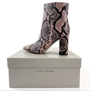 MARC FISHER Pink Leather Snake Print Boots
